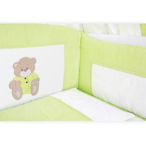Babyzimmer Yves 21-tlg. mit 3 türigem Schrank + kl. Bett, Set Memi Bear Grün – Bild 5