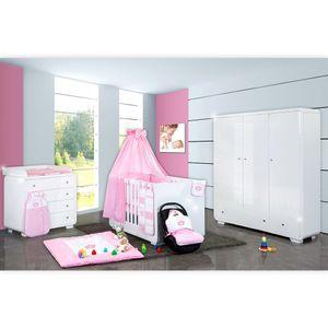 Babyzimmer Yves 21-tlg. mit 3 türigem Schrank + kl. Bett, Set Princess Rosa – Bild 1