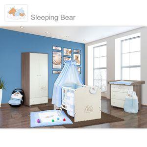 Babyzimmer 10-tlg. in Sonoma-Cream mit 2 türigem Kl. + Set Sleeping Bear Blau – Bild 1