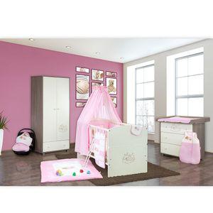 Babyzimmer 10-tlg. in Sonoma-Cream mit 2 türigem Kl. + Set Sleeping Bear Rosa – Bild 2
