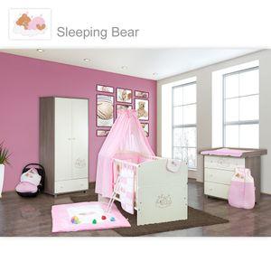 Babyzimmer 10-tlg. in Sonoma-Cream mit 2 türigem Kl. + Set Sleeping Bear Rosa – Bild 1