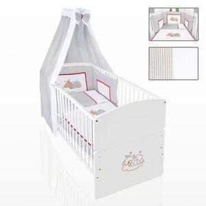 Babyzimmer 19-tlg. in Weiß mit 2 türigem Kl. + Set Sleeping Bear Grau – Bild 6