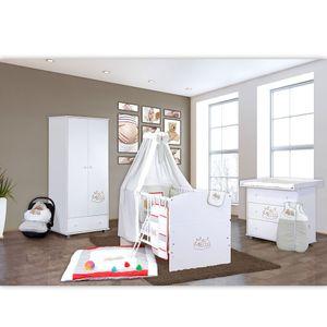 Babyzimmer 19-tlg. in Weiß mit 2 türigem Kl. + Set Sleeping Bear Grau – Bild 2