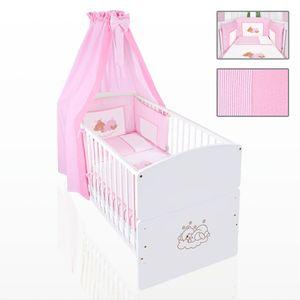 Babyzimmer 10-tlg. in Weiß mit 2 türigem Kl. + Set Sleeping Bear Rosa – Bild 6