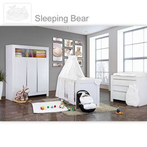 Babyzimmer Felix in weiss  21 tlg. mit 3 türigem Kl + Sleeping Bear in weiss – Bild 1