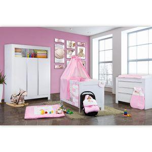 Babyzimmer Felix in weiss  21 tlg. mit 3 türigem Kl + Sleeping Bear in rosa – Bild 2