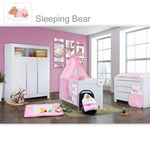 Babyzimmer Felix in weiss  21 tlg. mit 3 türigem Kl + Sleeping Bear in rosa – Bild 1