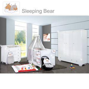 Babyzimmer Yves 21-tlg. mit 3 türigem Schrank + kl. Bett, Set Sleeping Bear Grau – Bild 1