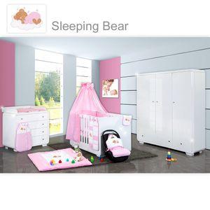 Babyzimmer Yves 21-tlg. mit 3 türigem Schrank + kl. Bett, Set Sleeping Bear Rosa – Bild 1