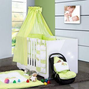 Babyzimmer Yves 21-tlg. mit 3 türigem Schrank + kl. Bett, Set Sleeping Bear Grün – Bild 2