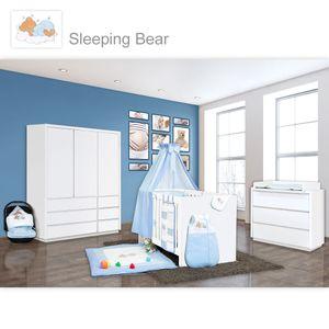 Babyzimmer Atlanta in Weiss 19 tlg. mit 3 türigem Kl. + Sleeping Bear Blau – Bild 1