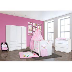 Babyzimmer Atlanta in Weiss 19 tlg. mit 3 türigem Kl. + Joy Rosa – Bild 2