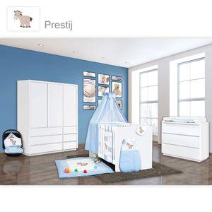 Babyzimmer Atlanta in Weiss 19 tlg. mit 3 türigem Kl. + Prestij Blau – Bild 1