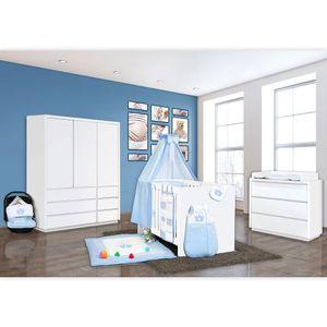 Babyzimmer Atlanta in Weiss 19 tlg. mit 3 türigem Kl. + Prince Blau – Bild 2