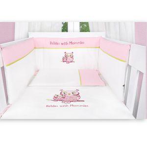 Babyzimmer Atlanta in Weiss 19 tlg. mit 3 türigem Kl. + Textilset Eule in Rosa – Bild 9