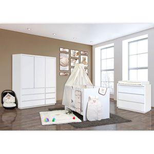 Babyzimmer Atlanta in Weiss 19 tlg. mit 3 türigem Kl. + Textilset von Cute Bear Beige – Bild 2