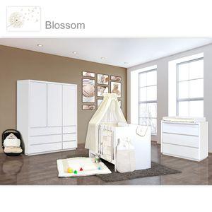 Babyzimmer Atlanta in Weiss 19 tlg. mit 3 türigem Kl. + Textilset von Blossom Beige – Bild 1