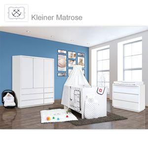 Babyzimmer Atlanta in Weiss 19 tlg. mit 3 türigem Kl. + Textilset von Kleiner Matrose Blau – Bild 1