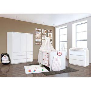 Babyzimmer Atlanta in Weiss 19 tlg. mit 3 türigem Kl. + Textilset von Kleiner Matrose Rot – Bild 2