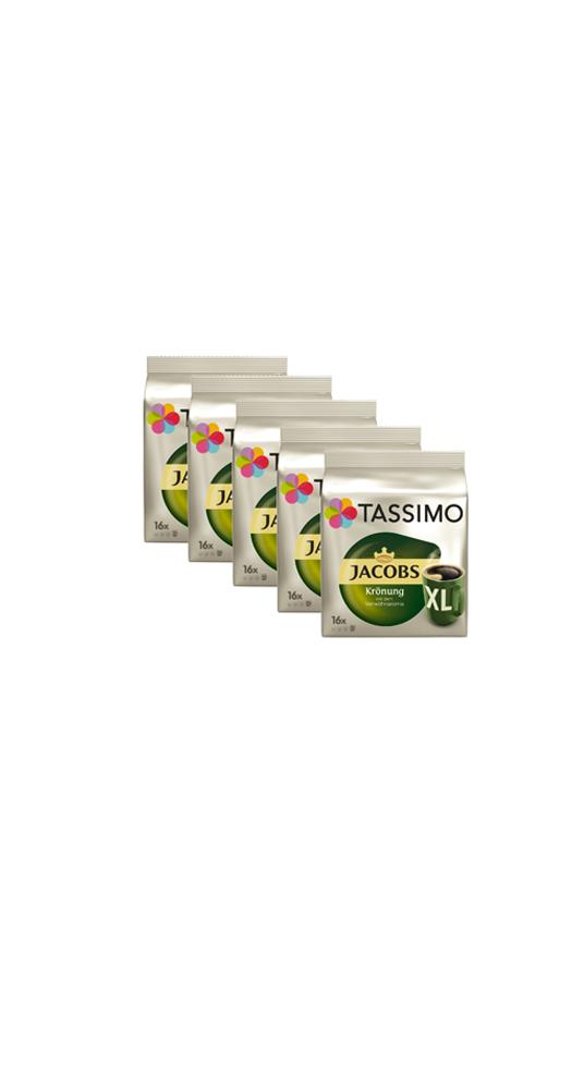 5 Pack Tassimo TDisc Jacobs Krönung XL 80 Tassen Kaffee Kapseln Heißgetränk