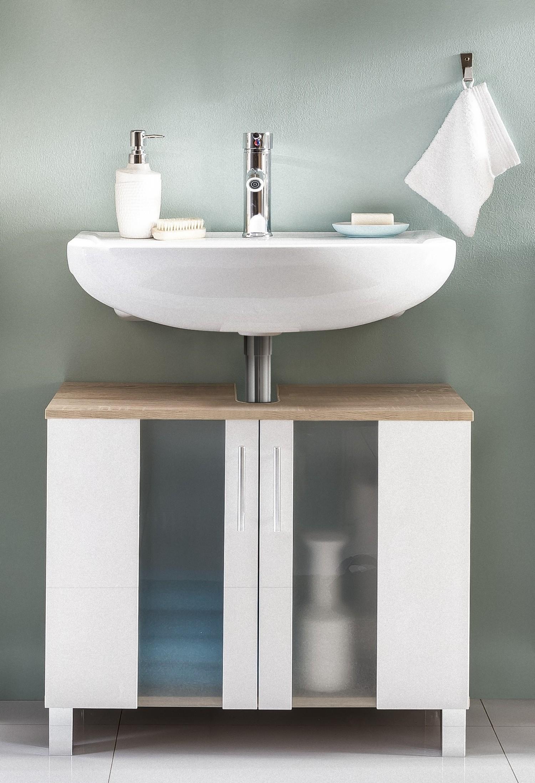 waschbecken unterschrank porto bad eiche weiß badezimmer bad möbel