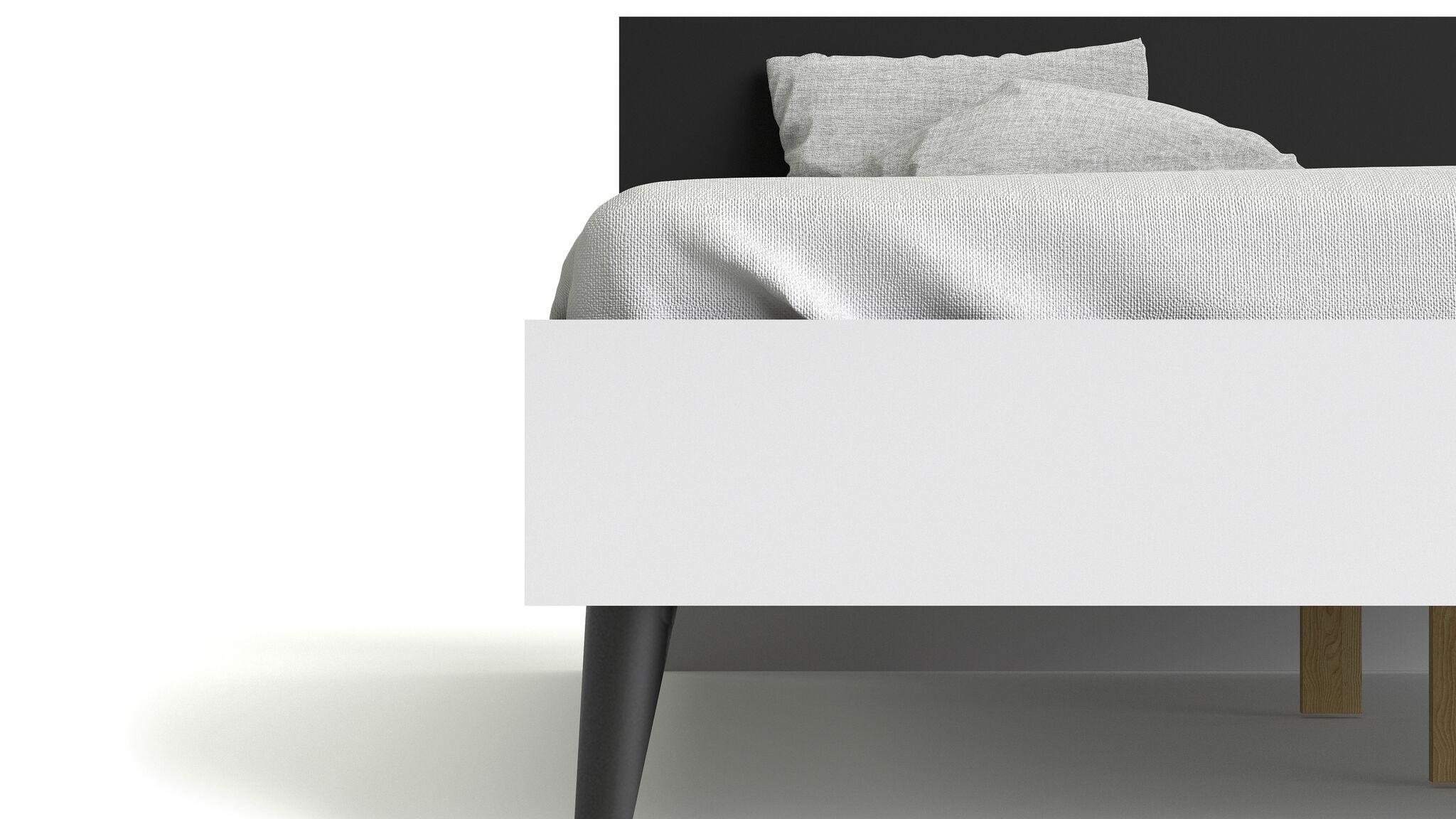 Doppelbett NAPOLI Bettgestell Ehebett Bett Schlafzimmer 180x200 schwarz/weiß
