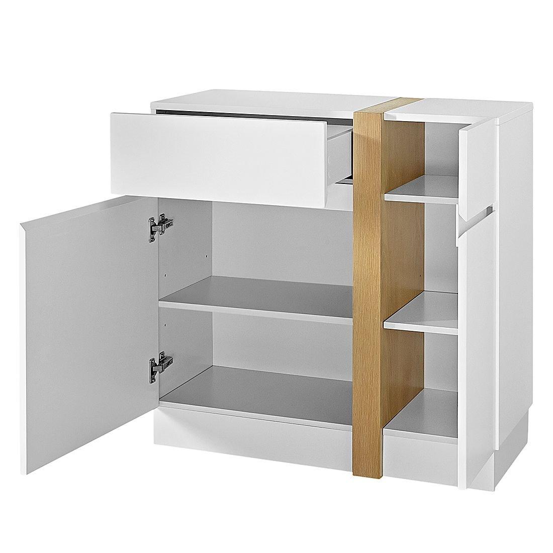 kommode highboard anrichte sideboard flur dielen schrank wei matt eiche ebay. Black Bedroom Furniture Sets. Home Design Ideas
