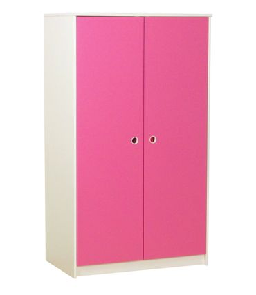 Kleiderschrank Klaus 2 türig Kinderzimmer Schrank weiß pink teilmassiv