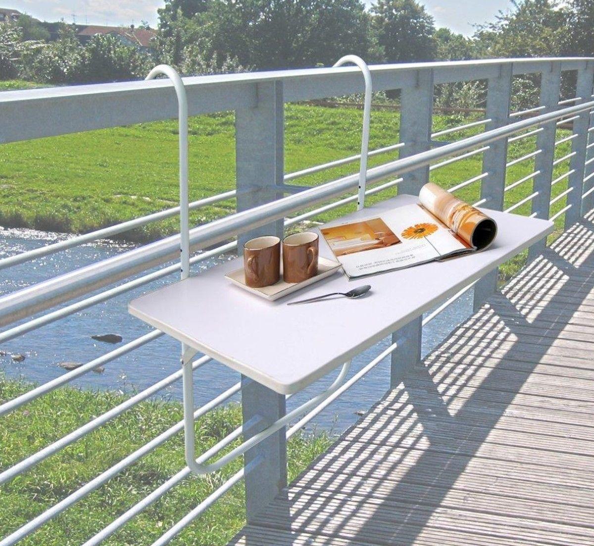 Details zu Balkontisch Klapptisch Hängetisch Tisch Balkon klappbar  Balkonhängetisch weiß
