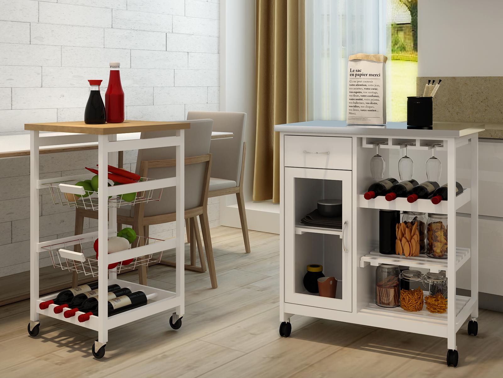 Küchenwagen Eiche Optik Rollwagen Servierwagen Beistellwagen Küche Tisch  Regal