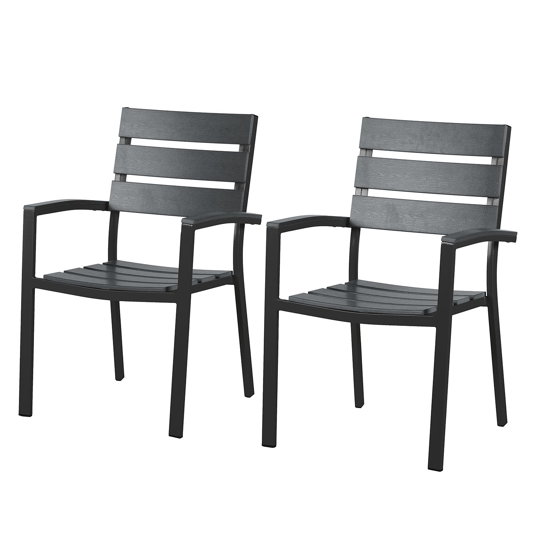 [Paket] 2x Alu Polywood Stapelsessel Gartenstuhl Aluminium Sessel Stuhl Set Holz Optik