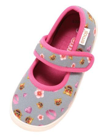 Mädchen Ballerina Sneaker Freizeitschuhe Slipper emoji Katze Herzen grau pink
