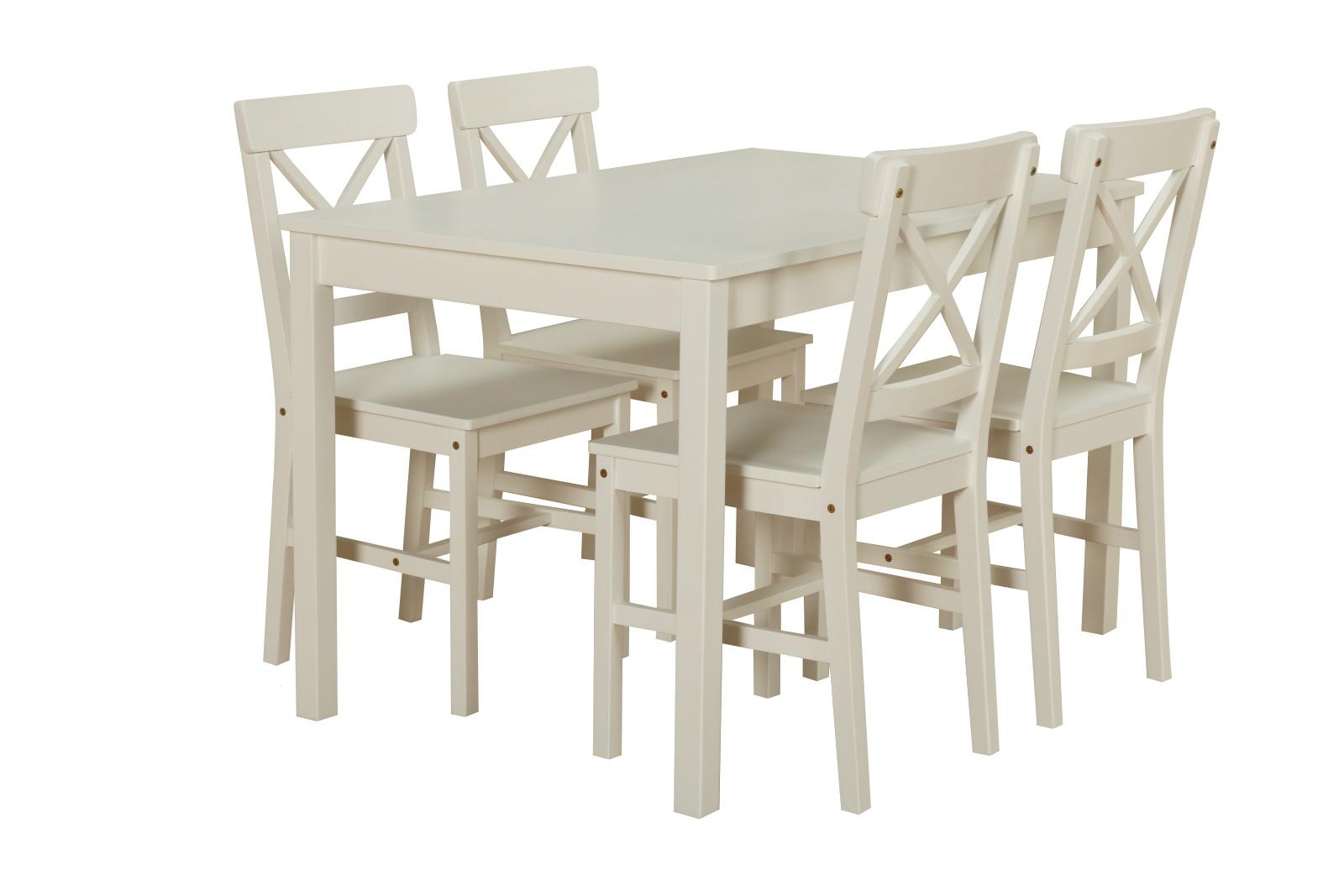 Kiefer Landhaus Essgruppe Tisch 4 Stühle Stuhl Sitzgruppe Küche Esstisch  Weiß