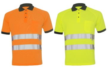 Warnschutz Poloshirt Warnkleidung Bau T-Shirt Warnshirt Sicherheit Arbeitsschutz