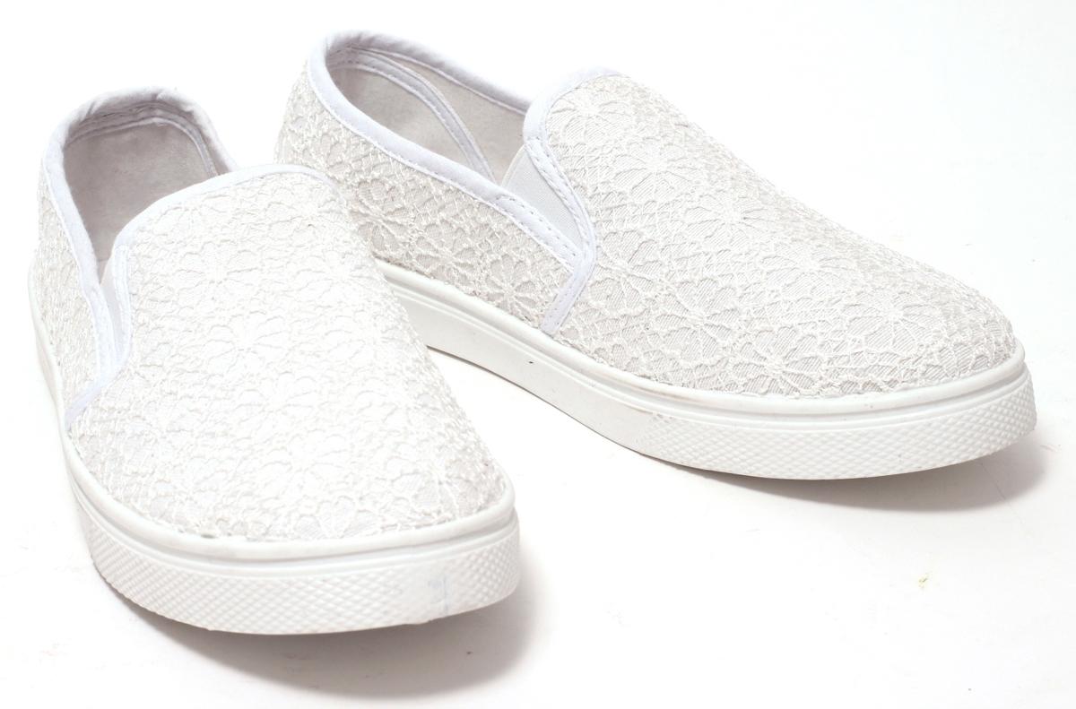 reputable site 70e5e 8a180 Damen Freizeitschuhe weiß Spitze Slipper Sneaker Schuhe Sommerschuhe  Mokassin