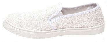 Damen Freizeitschuhe weiß Spitze Slipper Sneaker Schuhe Sommerschuhe Mokassin