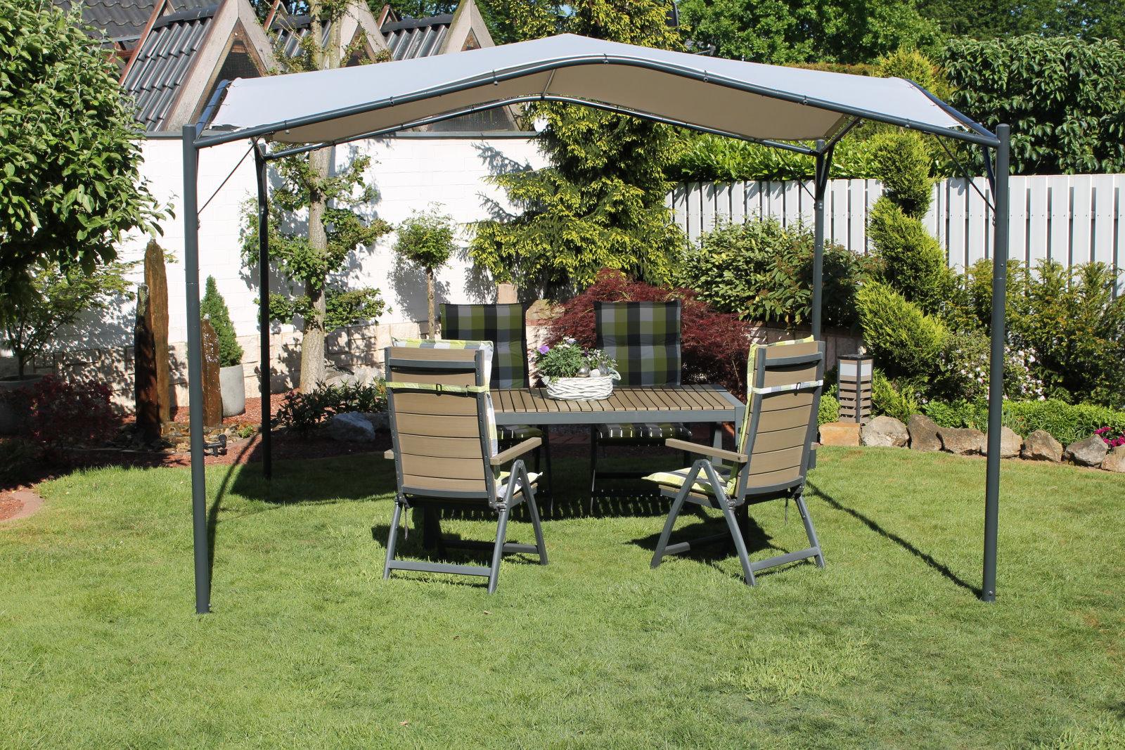 Leco Pavillon 350x350cm Terrassen Garten überdachung Sonnenschutz