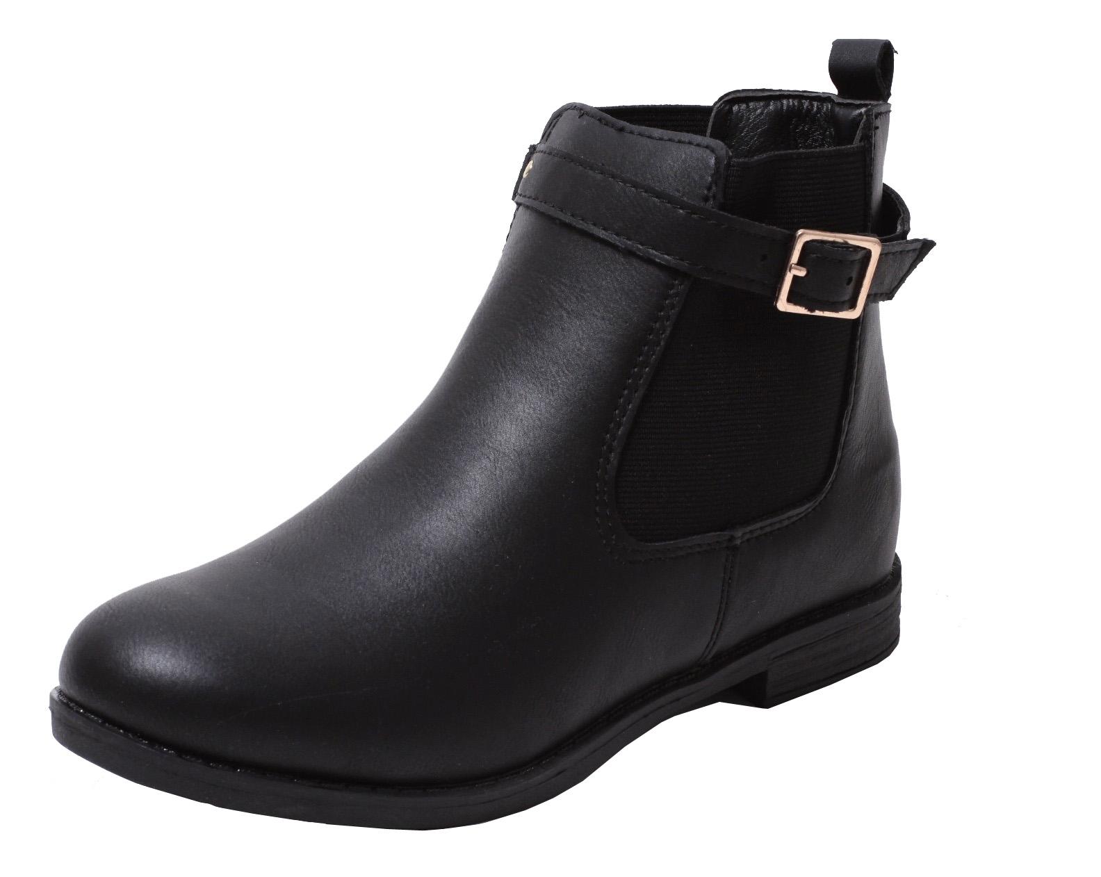 Gutscheincode komplettes Angebot an Artikeln Neuestes Design Mädchen Chelsea Stiefelette Stiefel Boots Winter Stiefel Biker Schuhe  schwarz | dynamic-24.de