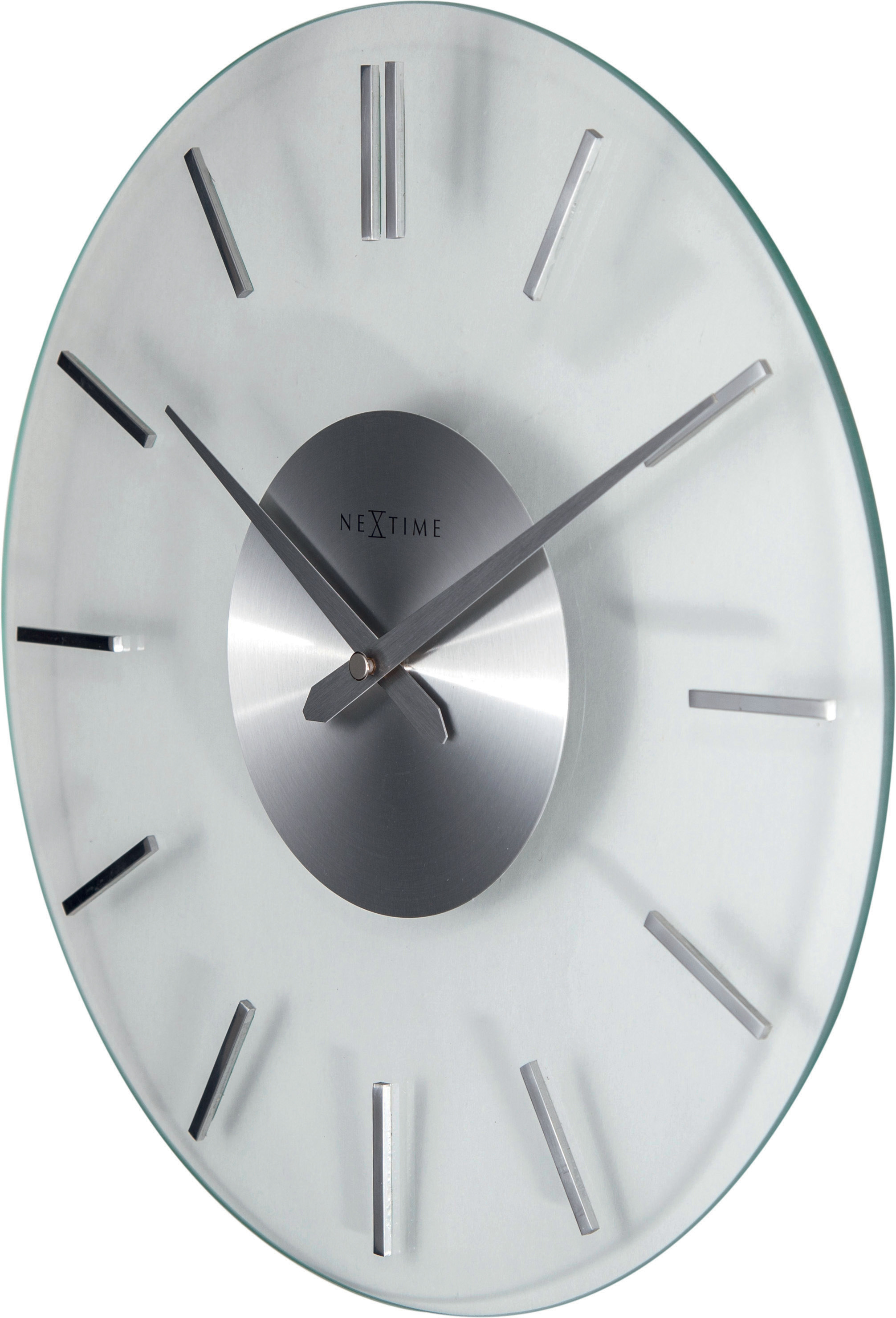 NeXtime Wanduhr STRIPE Ø 26cm lautlos Glas Edelstahl Quarzuhr Wohnzimmer  Uhr | dynamic-24.de