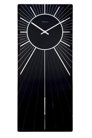 NeXtime Wanduhr HEAVENLY 70x30cm Spiegel Glas mit Pendel Quarz Wohnzimmer Uhr