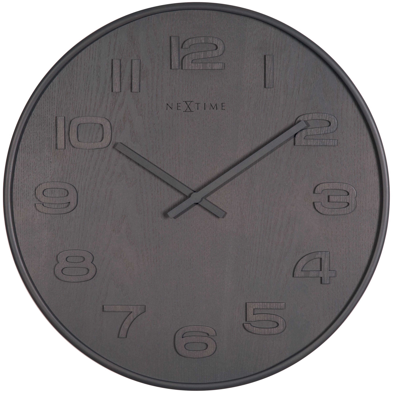 Detalles de Nextime Reloj de Pared Madera Medio Ø 36cm Salón Cocina Cuarzo  Gris