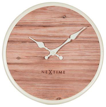 NeXtime Wanduhr PLANK Ø30cm lautlos Holzuhr Wohnzimmer Küche Uhr weiß