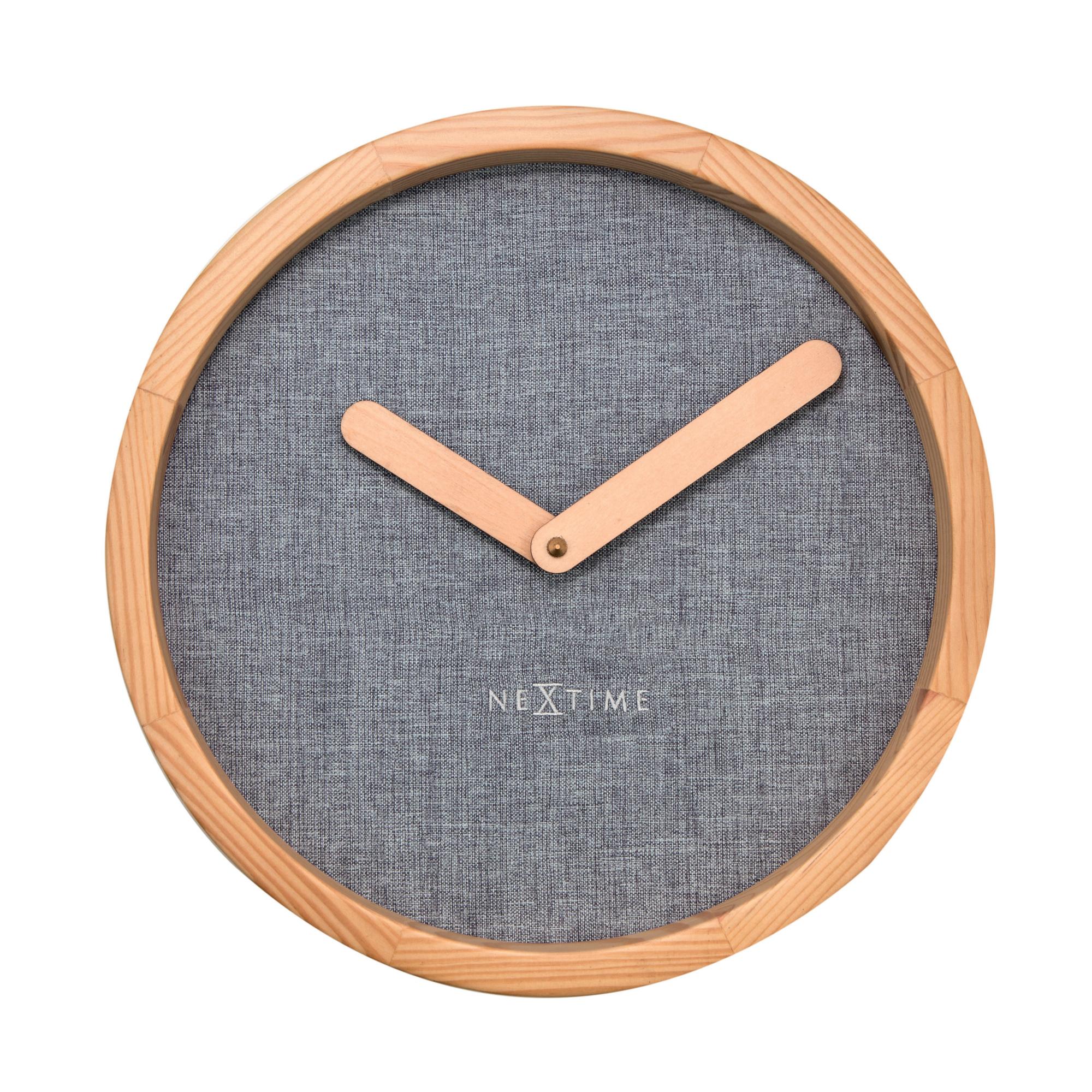NeXtime Wanduhr CALM Ø30cm lautlos Holz Stoff Uhr Quarzuhr Wohnzimmer Grau  | dynamic-24.de