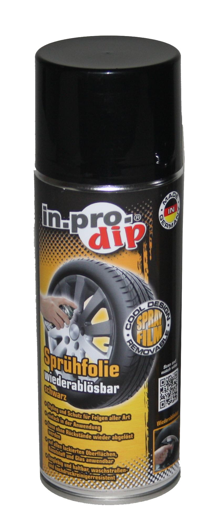 400ml Sprühfolie schwarz matt Felgenfolie Felgenspray IN.PRO.DIP  Felgenfarbe | dynamic-24.de