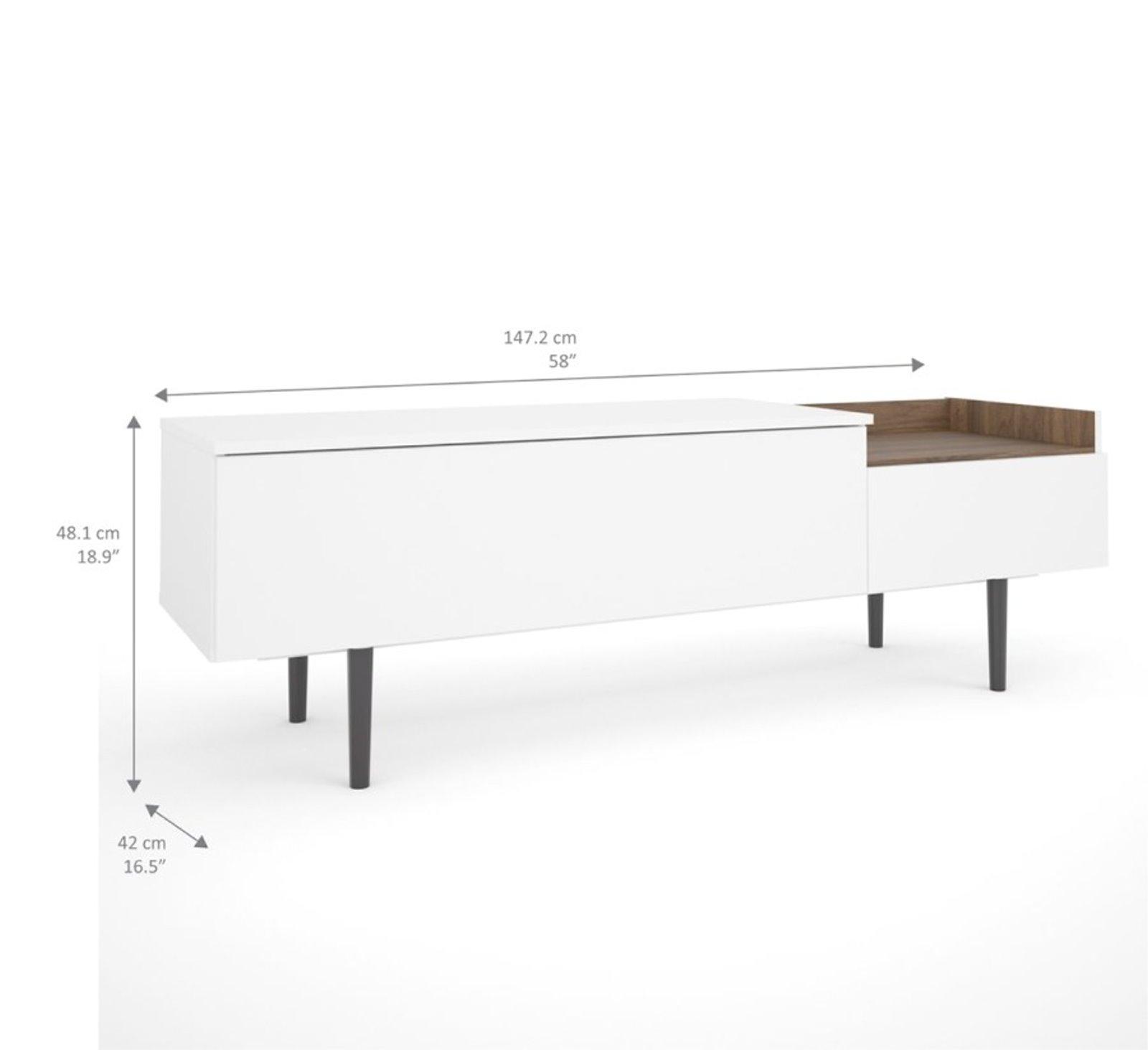 Una Sideboard 2 Schubladen Weiss Kommode Highboard Schrank Flur