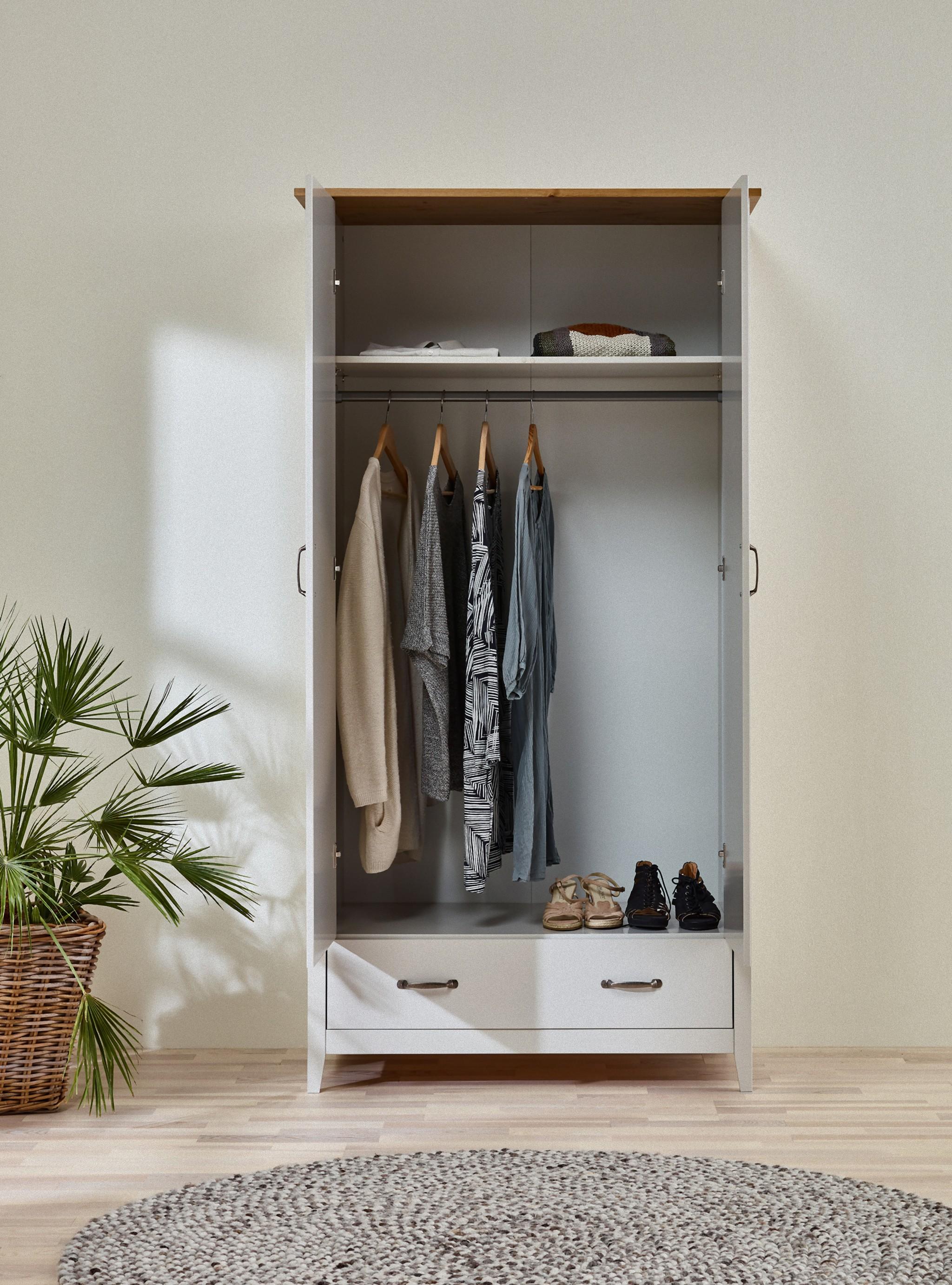 Kleiderschrank Nord Schlafzimmer Schrank 2 Türen Drehtürenschrank Kiefer  grau
