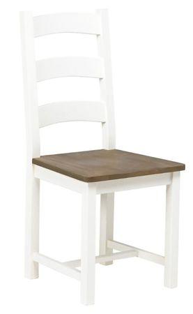 2x Esszimmerstuhl Lyra Holz Massiv Stuhl Stühle Küchenstuhl weiß braun