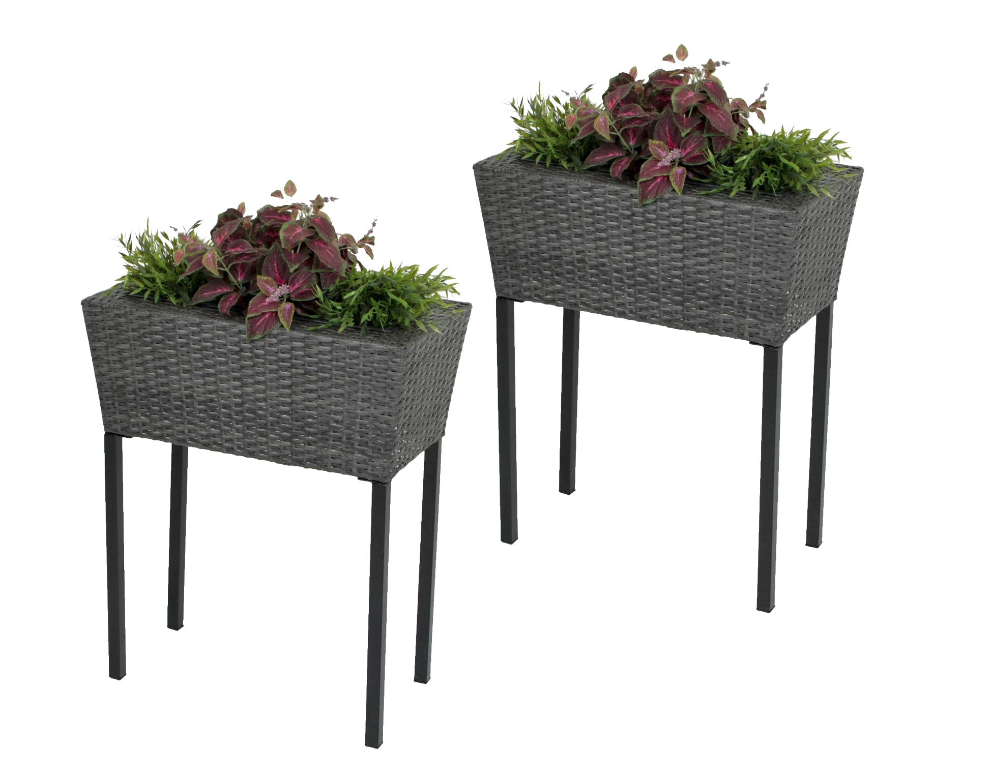 Pflanzkübel Terrasse.2x Hochbeet Blumentopf Pflanzkübel Blumenkübel Garten Terrasse Rattan Optik Dynamic 24 De