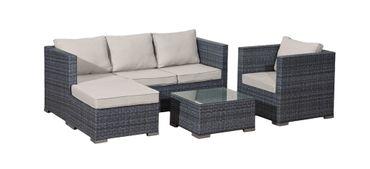 4tlg Garten Lounge Sofa Sitzgruppe Garten Couch Sessel  Rattan Optik Gartenmöbel