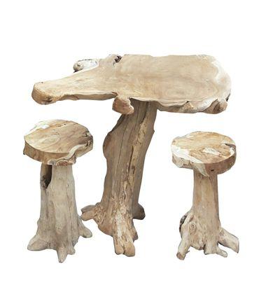 Teak Barset Tisch  2 x Hocker Garten Sitzgruppe Balkonset Wurzelteak Massivholz